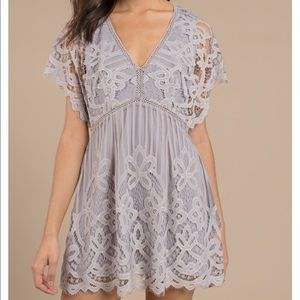 Tobi grey lace dress NWT
